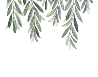 Olive Branches Art Print - Olive Branch Leaves painting - Greenery painting - Green Branches - Greenery - Home Decor Print -art