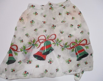 Vintage Border Print Apron-BELLS-Christmas-Holly-Excellent
