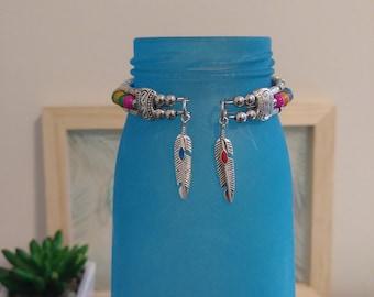 Silver & Multicolored Beaded Cuff Bracelet