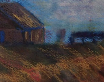 Barn and Fence, An Original Watercolor  Landscape with Crayon, Ready to Frame, Matted Standard Size, 16 x 20 inches, Contemporary Art