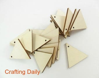 """Wood Triangle Earring Laser Cut Equilateral 1"""" x 1/8"""" Jewelry Earring Pendant Shapes - 1 Hole - 25 Pieces"""