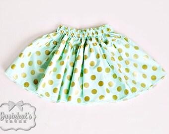 SALE Mint Gold Dot Skirt Girl - Gold Polka Dot Skirt - Mint Green Skirt - SALE Skirt Girls Size 7 8 Holiday - Ready to Ship - Twirl Skirt
