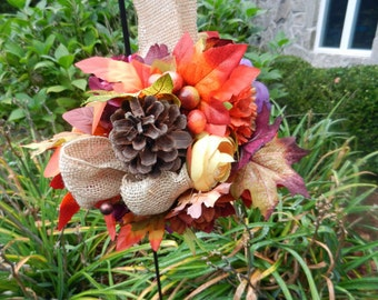 Large Fall Wedding kissing ball/ Pomander leaves, pinecones, gourds, berries
