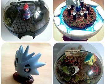 Pupitar POKÉMON TERRARIUM - Custom Pokemon Gift / Pokeball Diorama / Fairy Garden / Pokemon Miniature