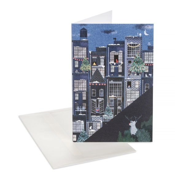 THE REINDEER Christmas card. Night skyline. Holidays in the city. Black and blue holiday notecard