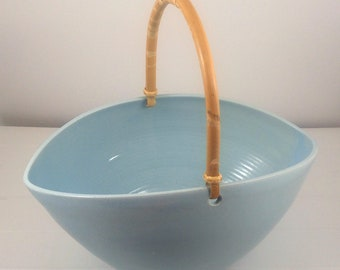 Blue Oval Bowl with Bamboo Handle
