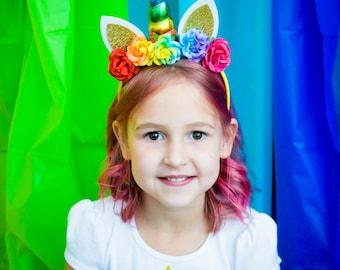 Rainbow Unicorn Headband {unicorn horn, flower headband}