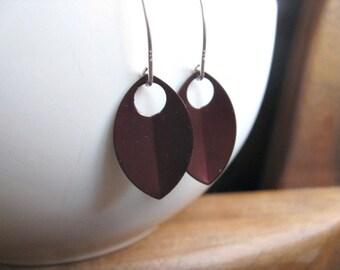wine red dangle earrings. anodized aluminum jewelry. sterling silver earwires.
