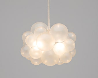 """The Frosted 25 Bubble Chandelier (18"""" diameter) • Custom Cord Options • LED Light • Ceiling Light • Hand-Frosted Glass Bubbles"""