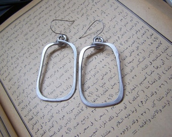 Silver Aluminum Earrings, rectangle hoop earrings, unique hoop earrings, big earrings, comfortable earrings, hypoallergenic earrings, E19