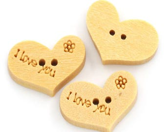 buttons 10 wood hearts - I LOVE YOU - 15X10mm - 2 holes - light wood
