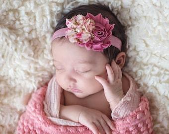 Baby Headband, Mauve Headband. Newborn Headband, Floral Baby Headband, Baby Hair Bow, Mauve Hair Bow
