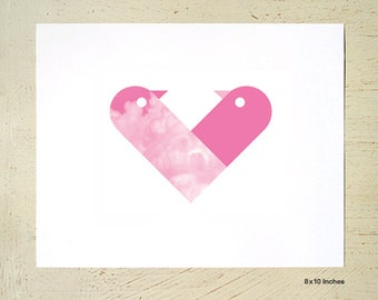 Love Birds - lovingly entwined to form a heart - digital print in pink by Erupt Prints