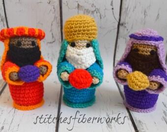 Crochet 3-piece Nativity Set, 3 Wise Men, Nativity, Christmas
