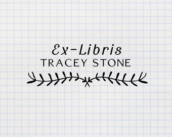 Ex Libris Stamp, Book Stamp, Library Stamp, Bookplate Stamp, Custom Rubber Stamp, Personalized Self Inking Stamp - CN784