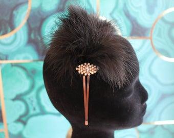 Handmade Gatsby feather headband with rhinestone brooch