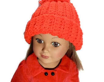 Red Doll Hat, 18 Inch Doll Pom Pom Hat, Crocheted Red Hat, Doll Beanie, Winter Doll Clothes