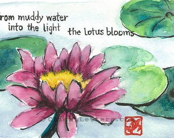 Lotus Blooming in Mud Original Watercolor & Ink Painting