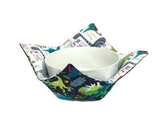 Dinosaur Bowl Cozy for Kids, Reversible Bowl Holder, Microwave Bowl Holder, Child's Bowl Hot Pad, Soup Bowl Potholder