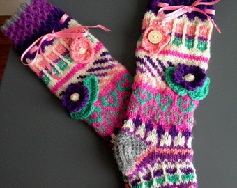 Whole gift knitted knee highs/slippers/socks/leg warmers, small size