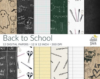 "Back to School Digital Papers - retro chalkboard- 12x12"" - high res - scrapbooking paper - instant download - small commercial use"
