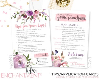 LipSense Application Card -- Pink Floral -- Thank You Card - Tips and Tricks - Tips/Tricks - Instructions - SeneGence - Business Card