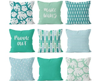 Surf Pillow Covers Set Mix and Match, Tropical Beach Pillow Covers Set, Teal Turquoise Mint Blue Pillow Covers Set, Gifts for Surfer Lover