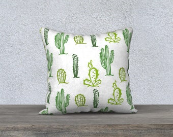 "Pillow cover decorative ""Cactus"" green and white pillowcase with Pillow-gift-baby nursery children-decoration-themed cushion"