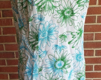 Vintage Sleeveless Floral Print Dress