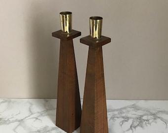 Vintage Pair of Mid-century Mosern Candlestick Holders by Kustum Kraft