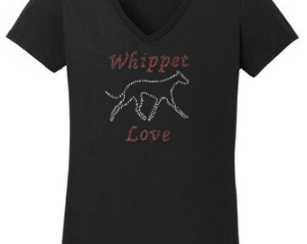 Whippet Love Rhinestone T-Shirt Made to order