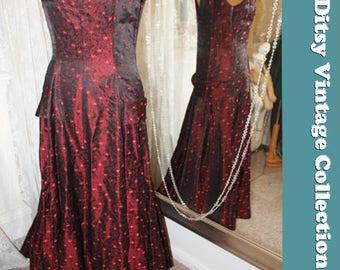 1930s 1940s red brocade evening dress - Size 8 10 UK