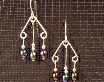Sterling Silver Multi-Dangle Iridescent Freshwater Pearl Earrings