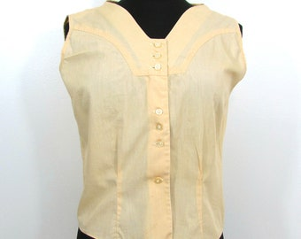 Vintage yellow sleevless cotton blouse - 1950s-60s - S-M