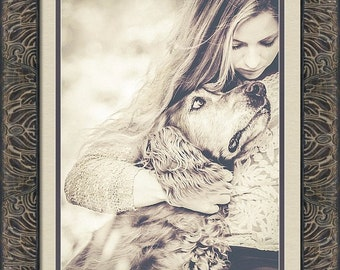 Sad Together -Irish Setter Dog Comforting Sad Young Woman-Love -Fine Art Photography Print -Home Decor Wall Art -Black And White Sepia Tones