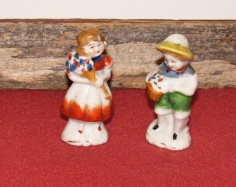 "Occupied Japan Ceramic Miniature Figures, Boy & Girl,  2 5/8"" tall"