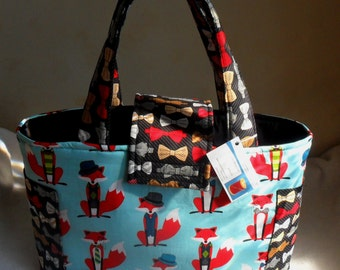 Large Fox and the Houndstooth Foxes Diaper Bag Tote LAST ONE