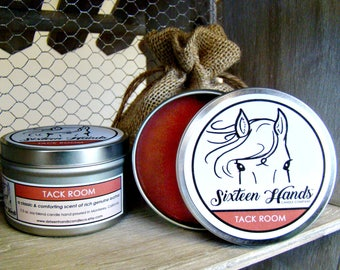 TACK ROOM - Leather Candle - Gifts For Horse Lovers - Equestrian Gifts - Horse Candles - Cowboy Candles