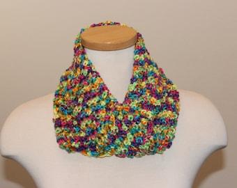 Crochet Infinity Scarf, Bright Multi-Color Scarf, Infinity Scarf, Soft and Shiny Scarf, All-season Scarf