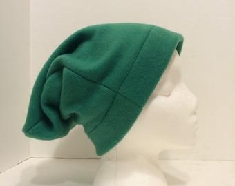 Green fleece slouchy, fleece slouchy, green beanie