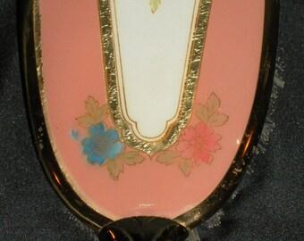 Vintage Fancy Vanity Brush w/ Blue & Orange Flowers