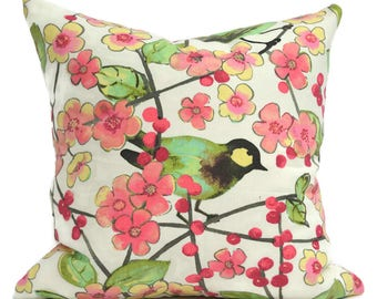 Pillow Cover ANY SIZE Decorative Pillow Cover Pink Bird Pillow Pink Pillow Waverly In The Air Blossom