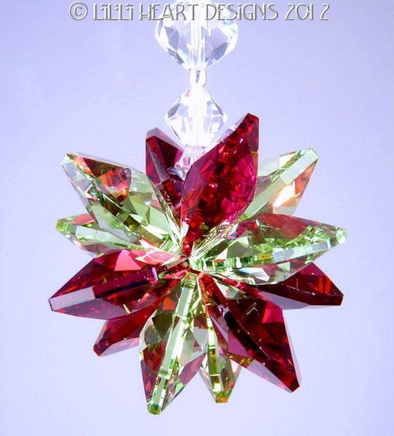 Suncatcher m/w Swarovski Crystal Christmas Ornament Red and