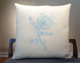 Flower Embroidered Pillow, Modern Flower Decor, Rustic Flower Pillow Cover, Blue Flower, Blue Rose Cushion