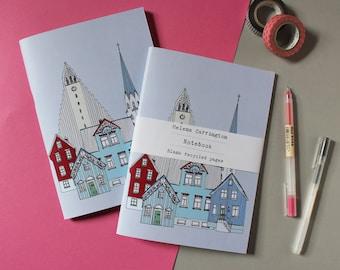 Reykjavik Notebook  - Reykjavik Skyline - Reykjavik Cityscape - Scandinavian Design - A5 Recycled Notebook