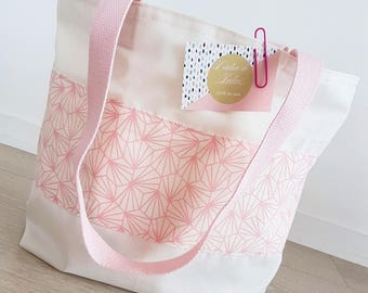 Bag / Tote in cotton and pink origami Beach