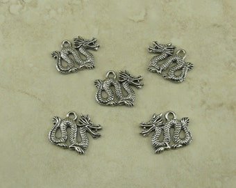 5 Year of the Dragon Charms > Chinese New Year Draco Oriental Mythology Zodiac - Raw Lead Free Pewter American Made - I ship Internationally