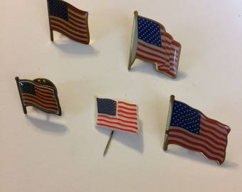 Vintage American flag pins and hat pin
