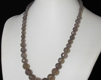 Necklace 20 inch IN gray Agate faceted 925 Silver