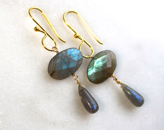 Blue Shimmer Labradorite Drop Earrings in Gold Vermeil...